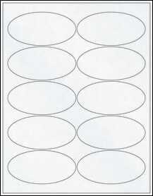 """Sheet of 3.94"""" x 1.94"""" Oval Clear Matte Inkjet labels"""