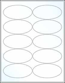 "Sheet of 3.9375"" x 1.9375"" Oval Clear Gloss Inkjet labels"