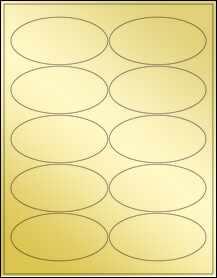 """Sheet of 3.9375"""" x 1.9375"""" Oval Gold Foil Laser labels"""