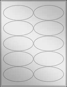 "Sheet of 3.9375"" x 1.9375"" Oval Silver Foil Laser labels"