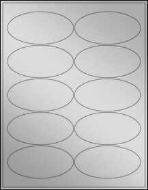 """Sheet of 3.9375"""" x 1.9375"""" Oval Weatherproof Silver Polyester Laser labels"""
