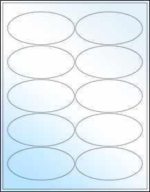 "Sheet of 3.9375"" x 1.9375"" Oval White Gloss Inkjet labels"