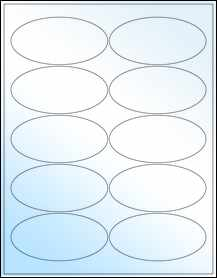 """Sheet of 3.94"""" x 1.94"""" Oval White Gloss Laser labels"""