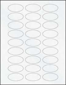 """Sheet of 2"""" x 1"""" Oval Clear Matte Inkjet labels"""