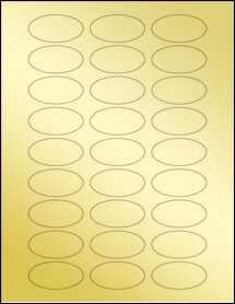 """Sheet of 2"""" x 1"""" Oval Gold Foil Laser labels"""