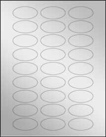 """Sheet of 2"""" x 1"""" Oval Silver Foil Inkjet labels"""