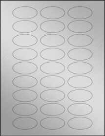 "Sheet of 2"" x 1"" Oval Weatherproof Silver Polyester Laser labels"