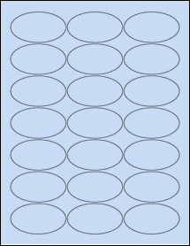 "Sheet of 2.5"" x 1.38"" Oval Pastel Blue labels"
