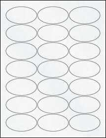"Sheet of 2.5"" x 1.38"" Oval Clear Matte Laser labels"