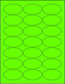 """Sheet of 2.5"""" x 1.38"""" Oval Fluorescent Green labels"""