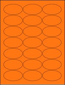 "Sheet of 2.5"" x 1.38"" Oval Fluorescent Orange labels"