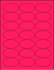 """Sheet of 2.5"""" x 1.38"""" Oval Fluorescent Pink labels"""