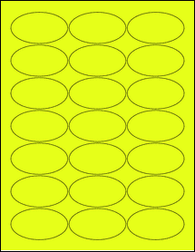 """Sheet of 2.5"""" x 1.38"""" Oval Fluorescent Yellow labels"""