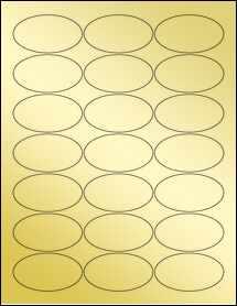 """Sheet of 2.5"""" x 1.38"""" Oval Gold Foil Laser labels"""