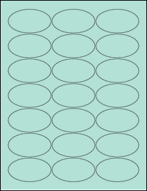 """Sheet of 2.5"""" x 1.38"""" Oval Pastel Green labels"""