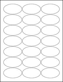 "Sheet of 2.5"" x 1.375"" Oval Weatherproof Polyester Laser labels"