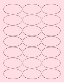 """Sheet of 2.5"""" x 1.38"""" Oval Pastel Pink labels"""
