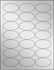 "Sheet of 2.5"" x 1.38"" Oval Silver Foil Laser labels"