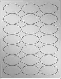 """Sheet of 2.5"""" x 1.375"""" Oval Weatherproof Silver Polyester Laser labels"""