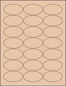 "Sheet of 2.5"" x 1.38"" Oval Light Tan labels"