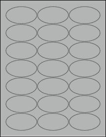 "Sheet of 2.5"" x 1.38"" Oval True Gray labels"