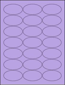 """Sheet of 2.5"""" x 1.38"""" Oval True Purple labels"""