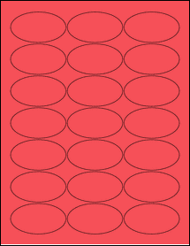 """Sheet of 2.5"""" x 1.38"""" Oval True Red labels"""