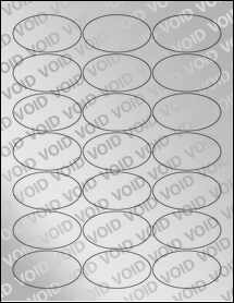 "Sheet of 2.5"" x 1.375"" Oval Void Silver Polyester labels"