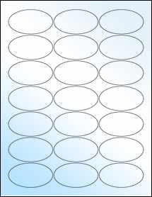 "Sheet of 2.5"" x 1.38"" Oval White Gloss Inkjet labels"