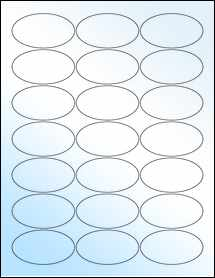 """Sheet of 2.5"""" x 1.375"""" Oval White Gloss Laser labels"""