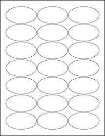 "Sheet of 2.5"" x 1.375"" Oval Standard White Matte labels"