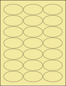 """Sheet of 2.5"""" x 1.38"""" Oval Pastel Yellow labels"""