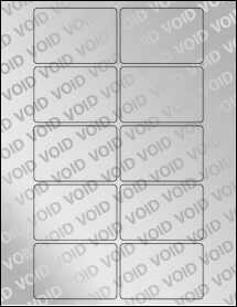 """Sheet of 3"""" x 2"""" Void Silver Polyester labels"""
