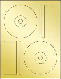 "Sheet of 4.6406"" CD  Gold Foil Laser labels"