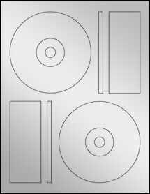 """Sheet of 4.6406"""" CD  Silver Foil Laser labels"""