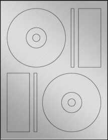 "Sheet of 4.6406"" CD  Weatherproof Silver Polyester Laser labels"