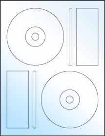 """Sheet of 4.6406"""" CD White Gloss Laser labels"""