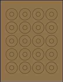 """Sheet of 1.57"""" Center Hub Brown Kraft labels"""