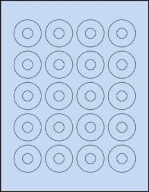 """Sheet of 1.57"""" Center Hub Pastel Blue labels"""