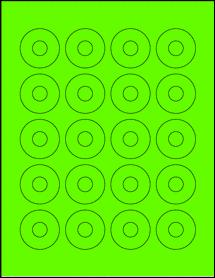 """Sheet of 1.57"""" Center Hub Fluorescent Green labels"""