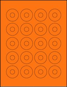 "Sheet of 1.57"" Center Hub Fluorescent Orange labels"