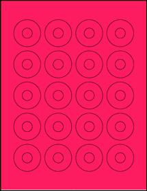 "Sheet of 1.57"" Center Hub Fluorescent Pink labels"