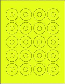 "Sheet of 1.57"" Center Hub Fluorescent Yellow labels"