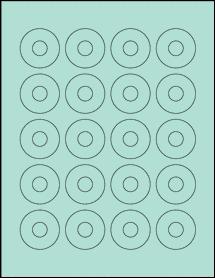 "Sheet of 1.57"" Center Hub Pastel Green labels"