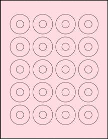 "Sheet of 1.57"" Center Hub Pastel Pink labels"