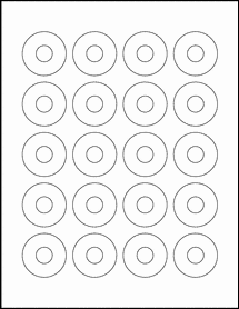 """Sheet of 1.57"""" Center Hub 100% Recycled White labels"""