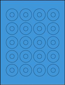 "Sheet of 1.57"" Center Hub True Blue labels"