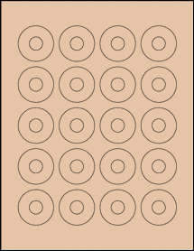 "Sheet of 1.57"" Center Hub Light Tan labels"