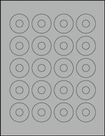 """Sheet of 1.57"""" Center Hub True Gray labels"""