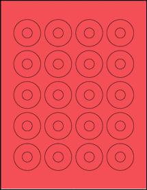 "Sheet of 1.57"" Center Hub True Red labels"